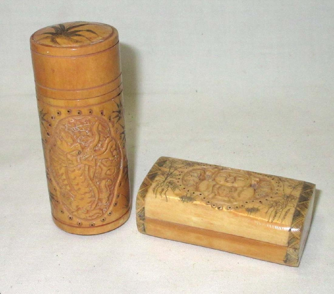 2 Oriental Carved Ox Bone Boxes