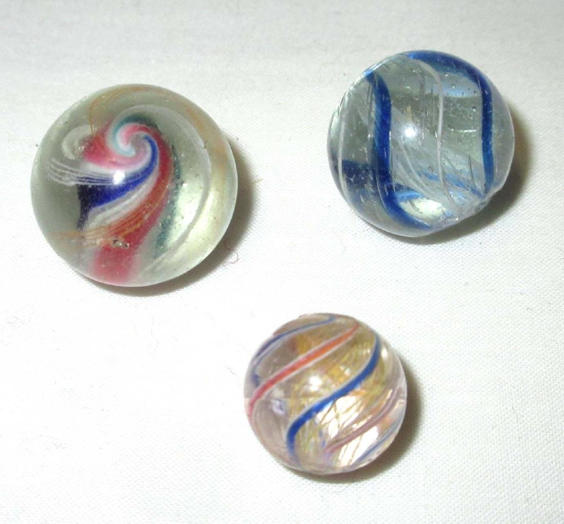 3 Hand Made Swirl Marbles