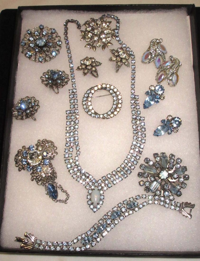 Delicate Ice Blue Rhinestone Jewelry