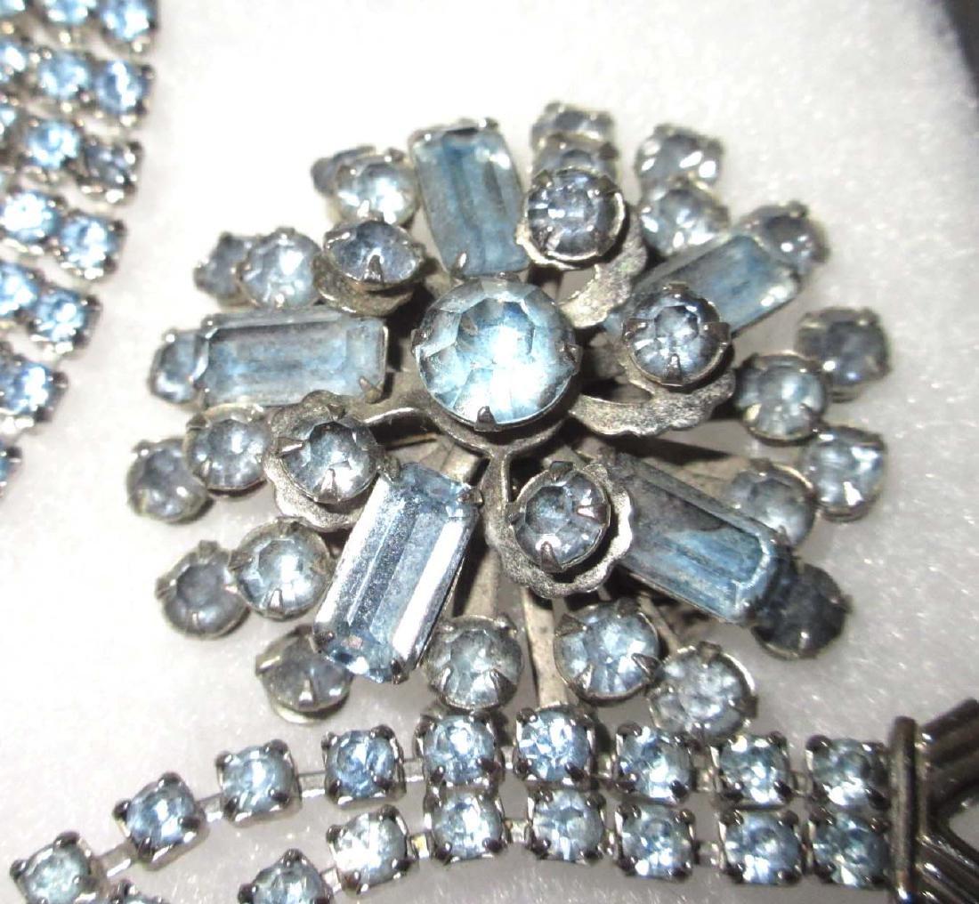 Delicate Ice Blue Rhinestone Jewelry - 4