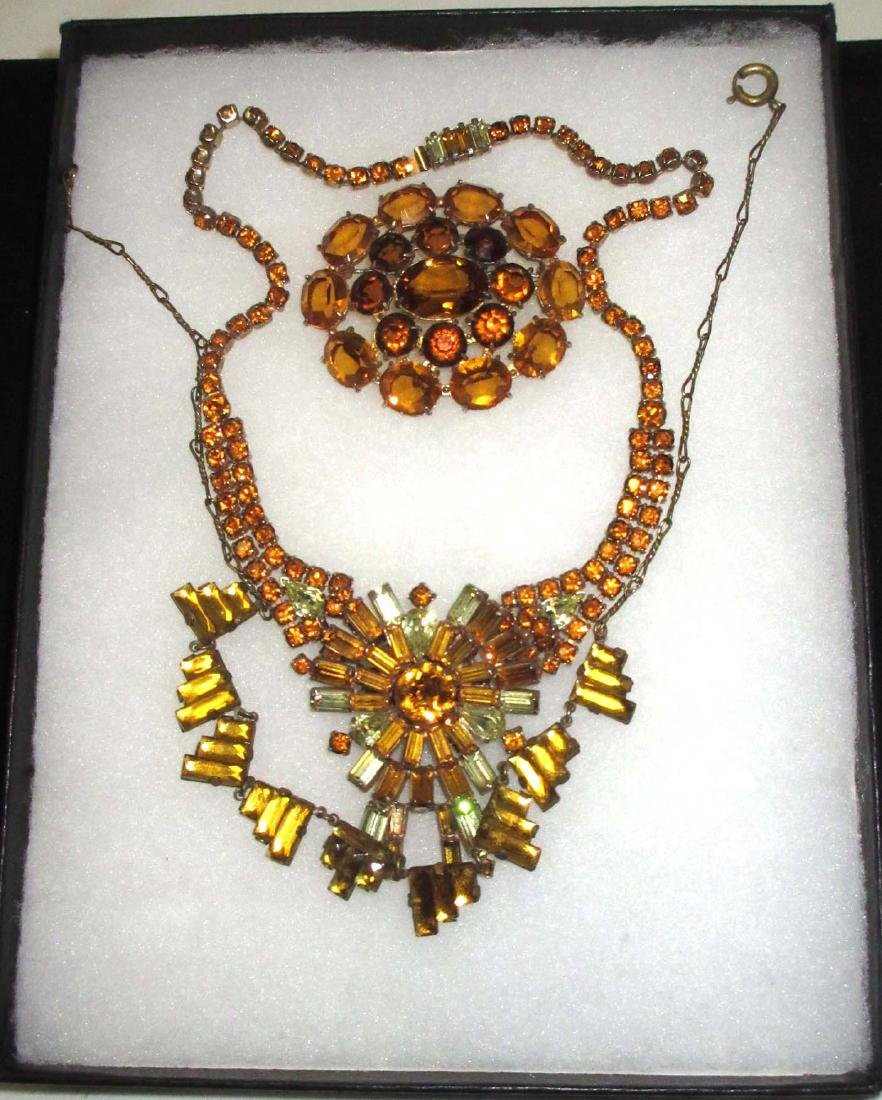Art Deco Amber Topaz Rhinestone Jewelry