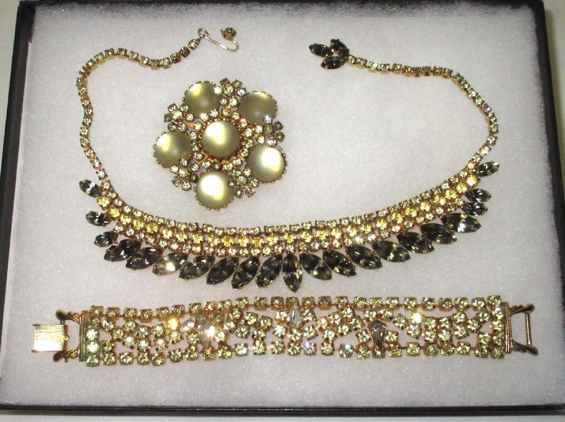 3 pc Quality Citrine Glass necklace, bracelet & brooch