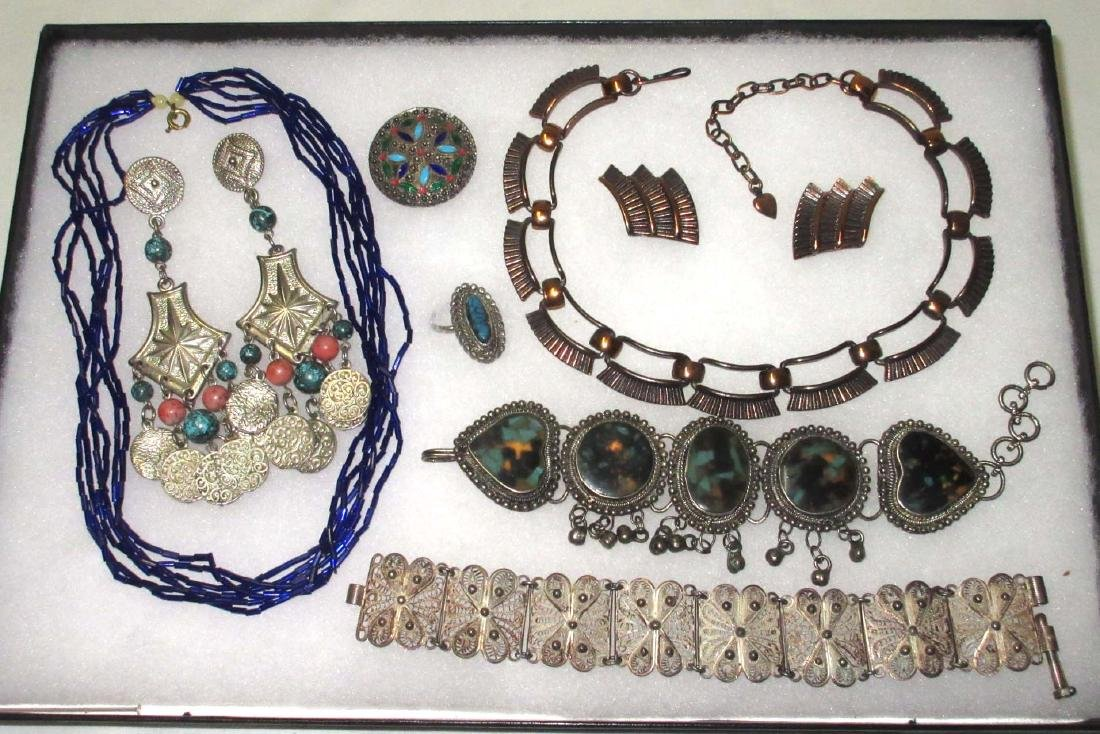 8 pc Copper, Sterling & Faux Indian Jewelry