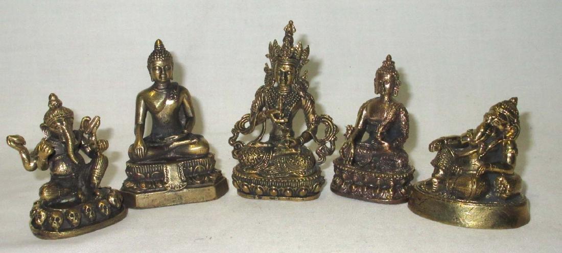 5 Oriental Cast Metal Figures