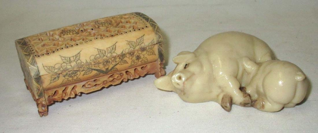 Oriental Box & Pig Figurine
