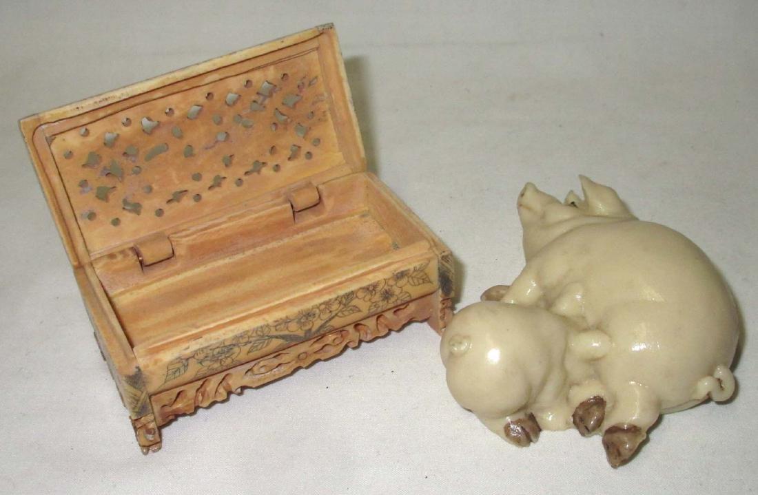 Oriental Box & Pig Figurine - 2