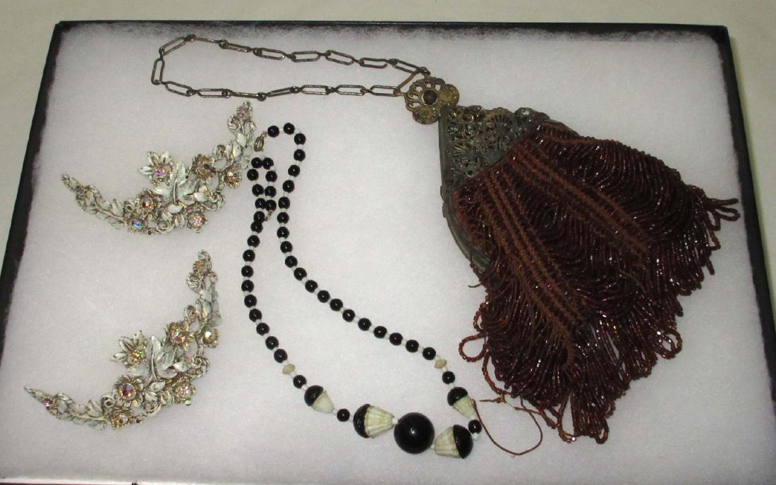 Art Nouveau Beaded Bag, Shoe Clips, Necklace