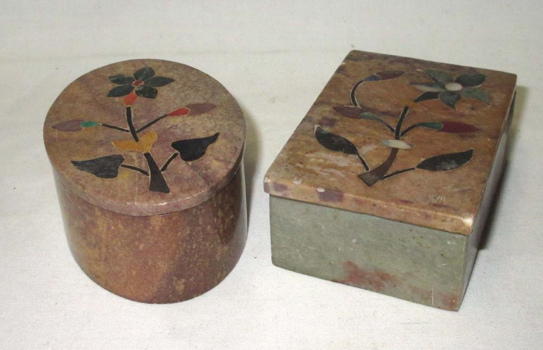 2 Oriental Inlaid Hardstone Boxes