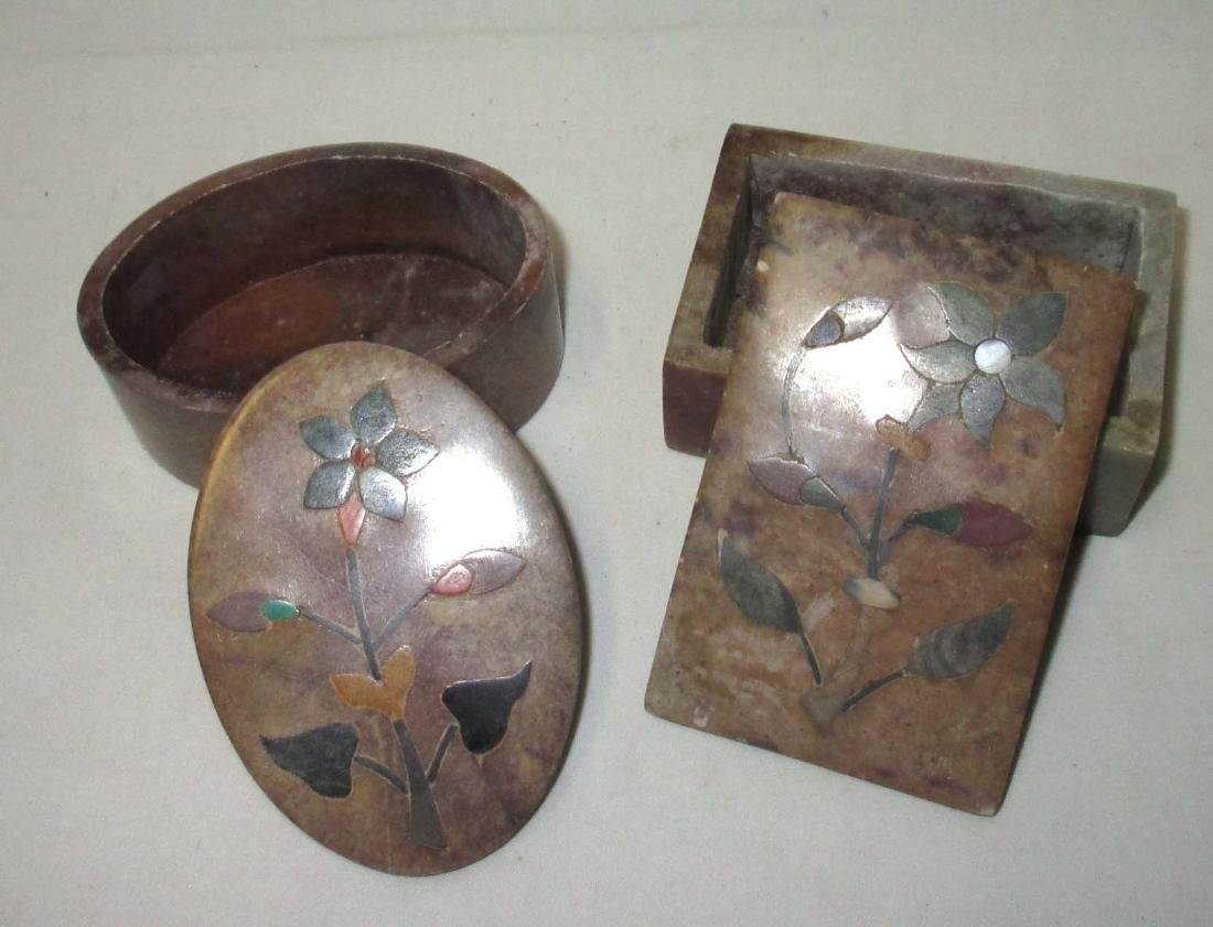 2 Oriental Inlaid Hardstone Boxes - 2