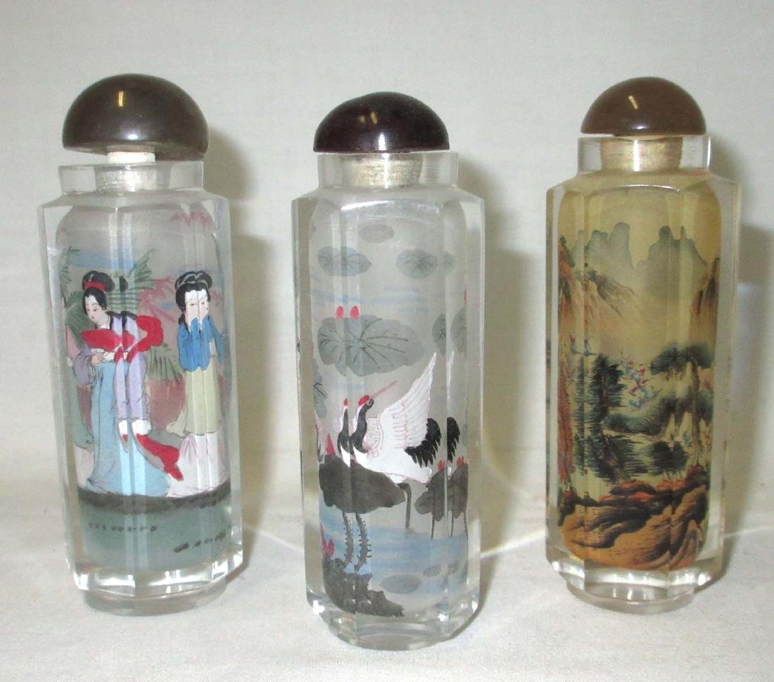 3 Reverse Painted Snuff Bottles