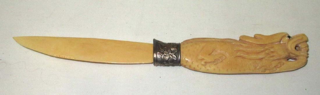 Carved Ox Bone Letter Opener