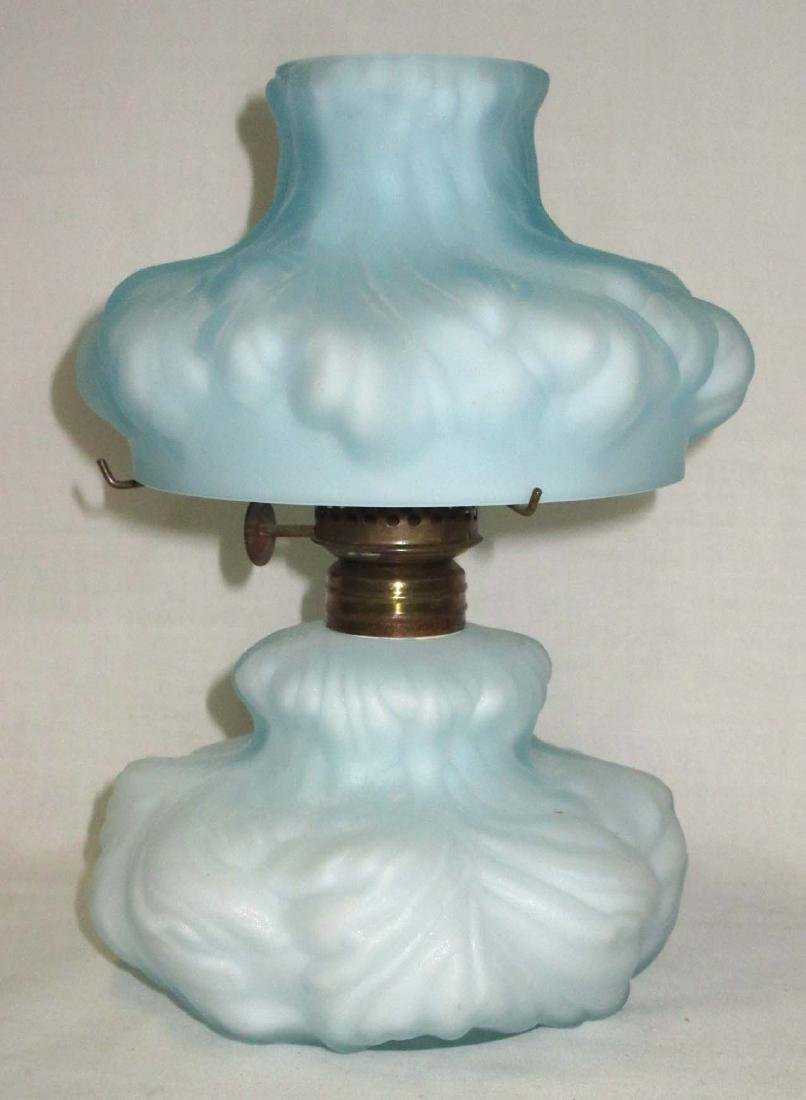 Vtg. Cased Glass Miniature Oil Lamp - 2