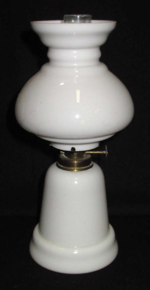 Vtg. Milk Glass Miniature Oil Lamp