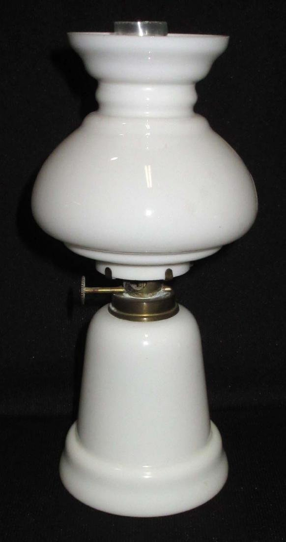 Vtg. Milk Glass Miniature Oil Lamp - 2