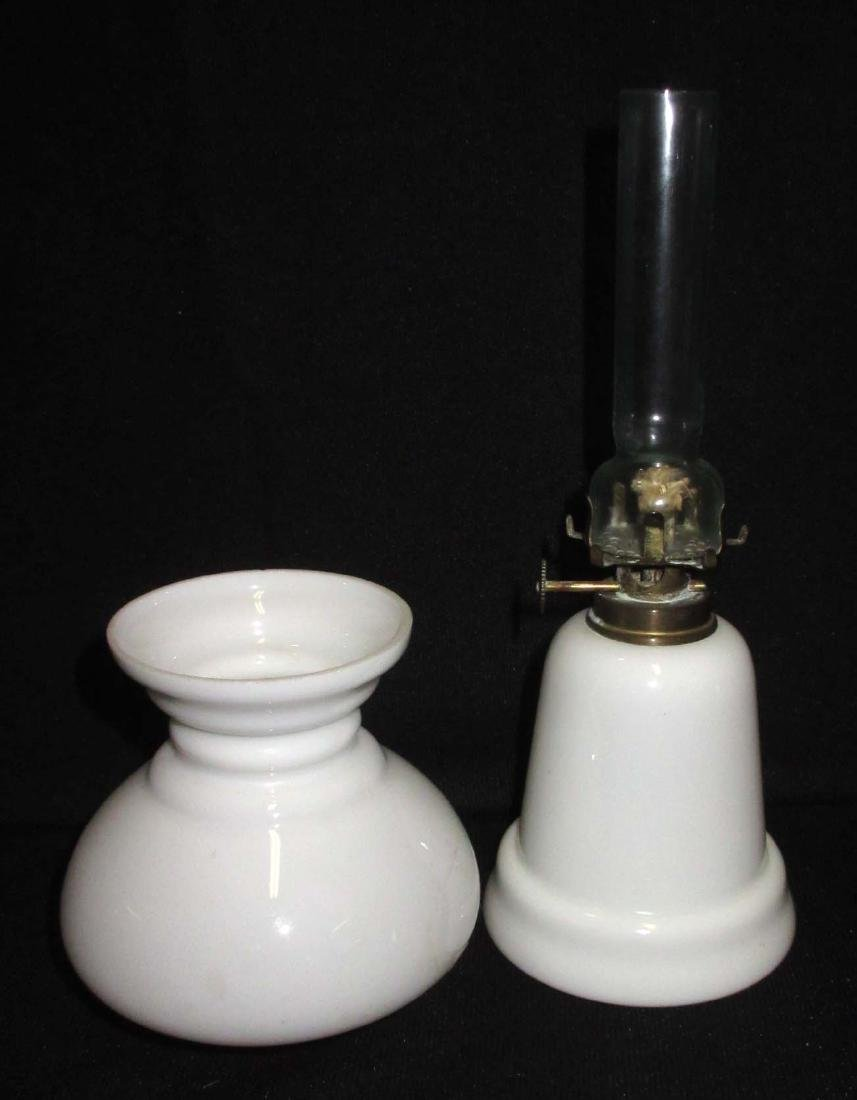 Vtg. Milk Glass Miniature Oil Lamp - 3