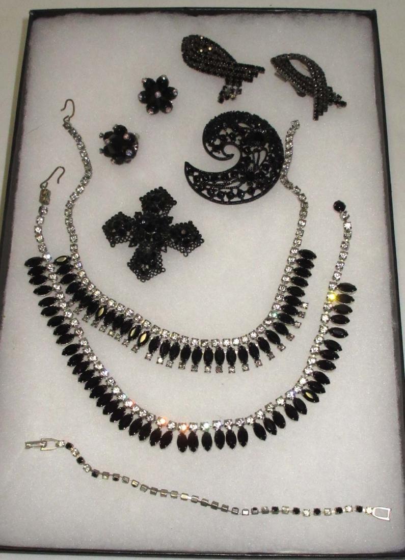7 piece Quality Black/Clear Rhinestone Jewelry