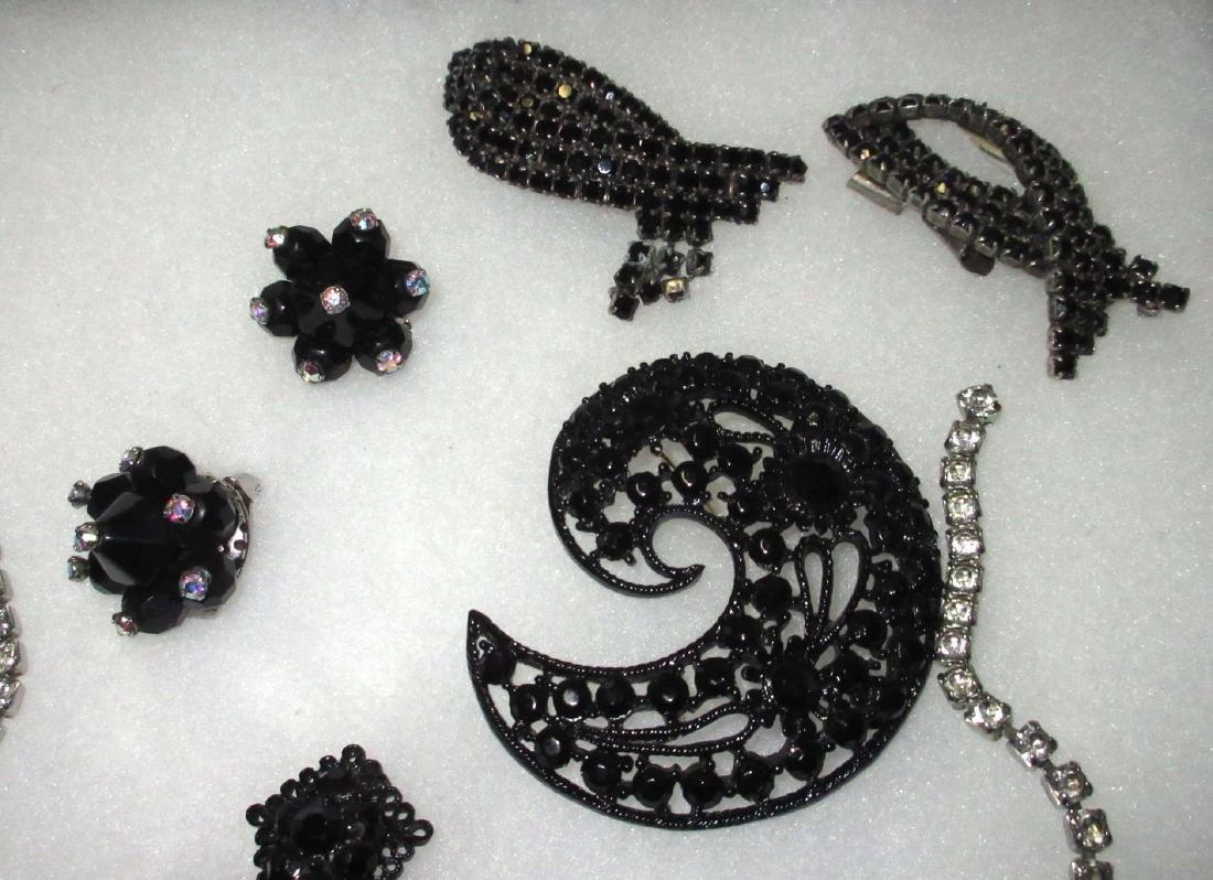 7 piece Quality Black/Clear Rhinestone Jewelry - 2