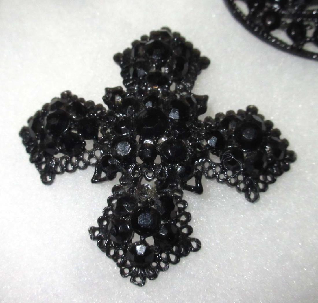 7 piece Quality Black/Clear Rhinestone Jewelry - 3