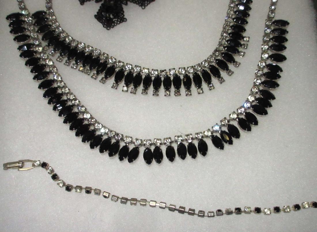 7 piece Quality Black/Clear Rhinestone Jewelry - 4
