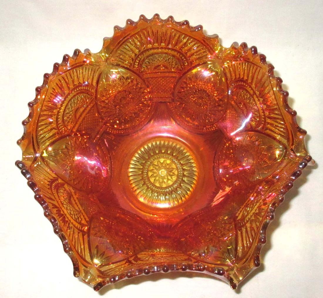 Carnival Glass Punch Bowl & Stand - 2