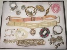19 piece Faux Pearl, Cameo Rhinestone Jewelry