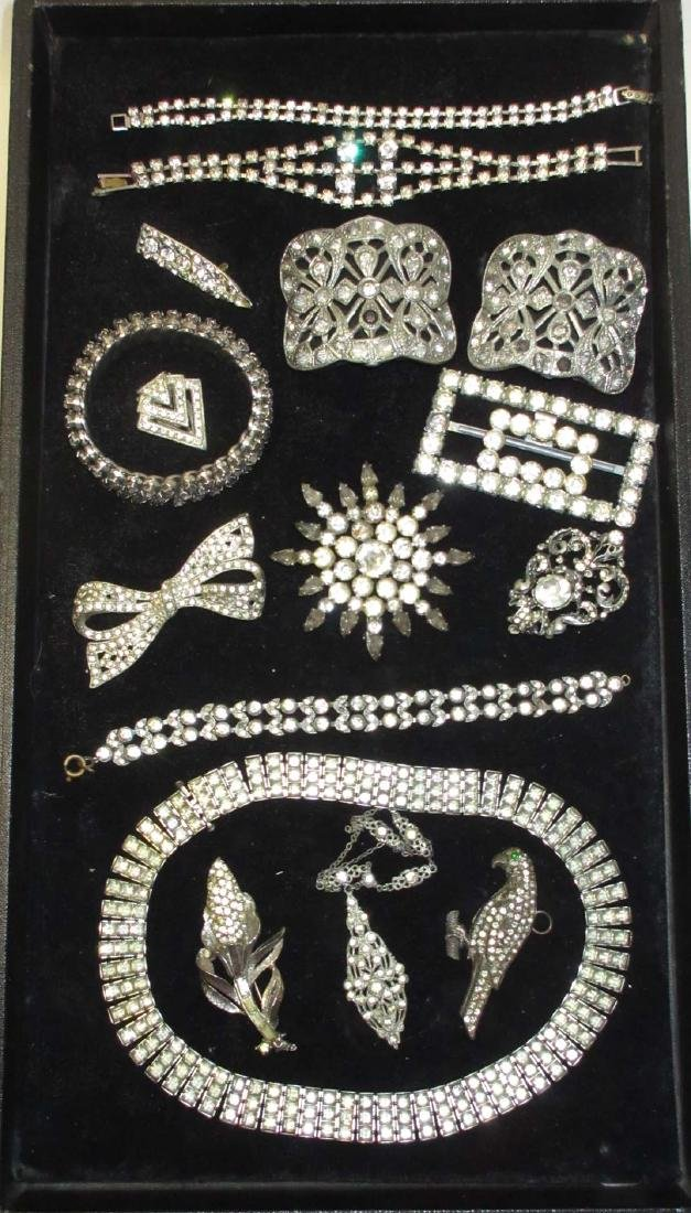 16 piece Antique & Clear Rhinestone Jewelry