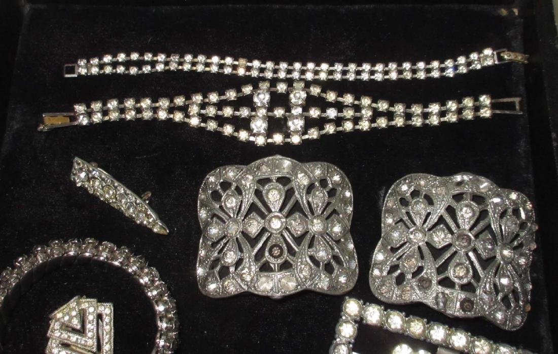 16 piece Antique & Clear Rhinestone Jewelry - 2