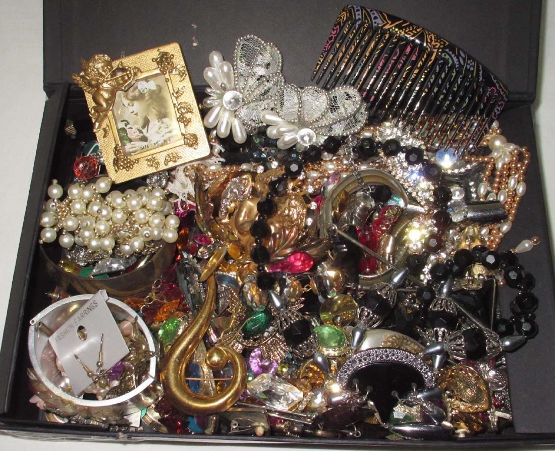 Bold Colorful Box Full of Rhinestone Jewelry