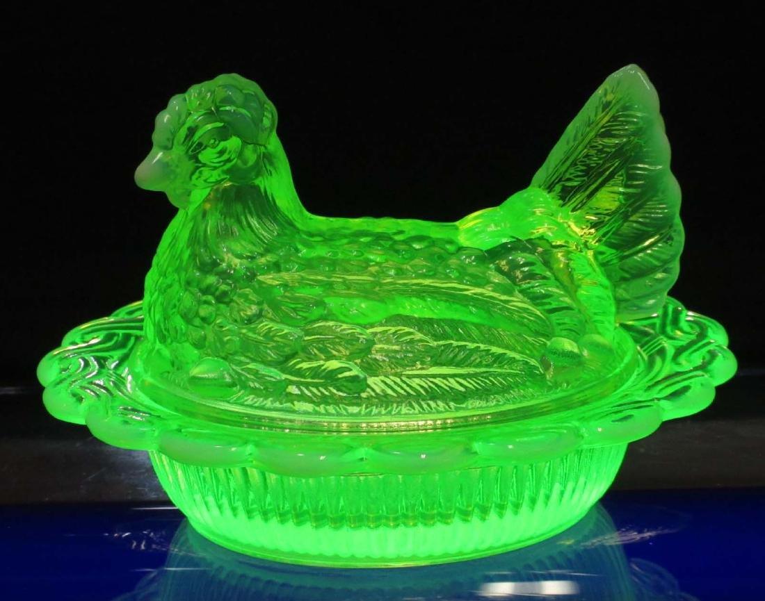 Vaseline Opalescent Hen on Nest Dish