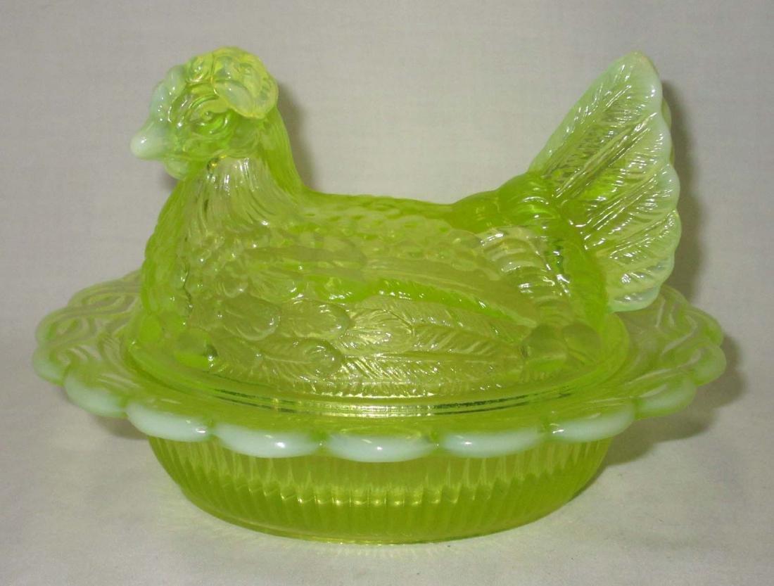 Vaseline Opalescent Hen on Nest Dish - 2