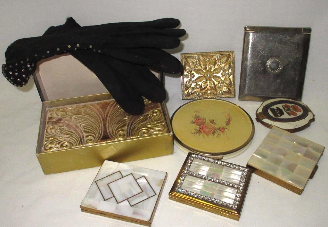 8 Vtg Compacts & Rhinestone Studded Gloves