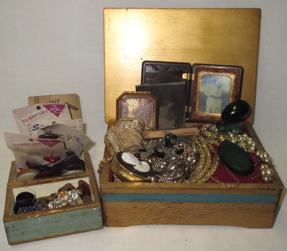 Music Box & Misc Vtg Jewelry, Perfume, Buttons, etc..