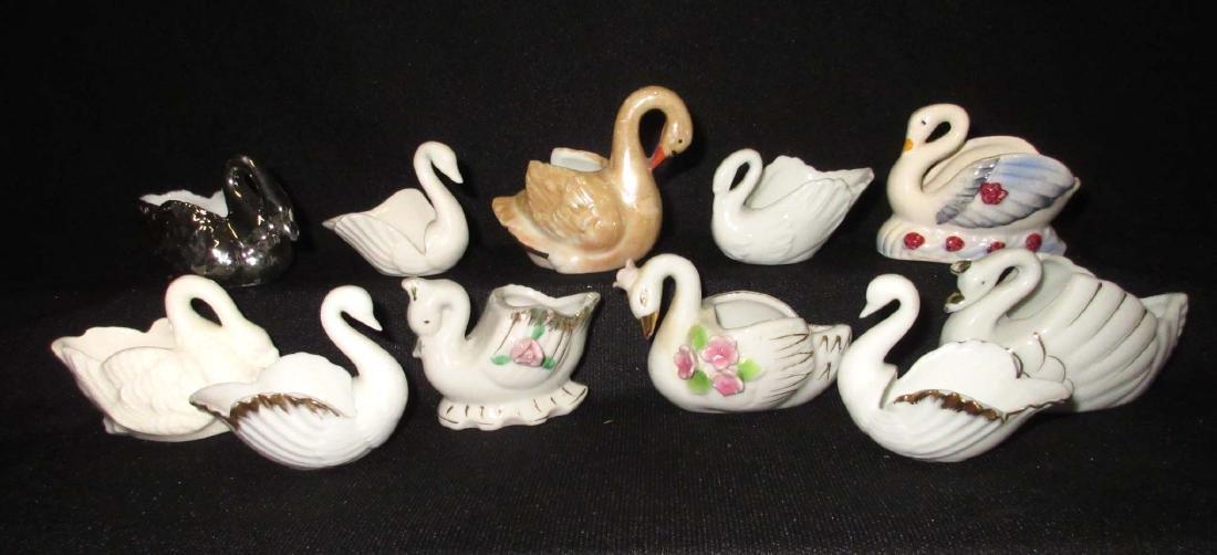 Lot of 11 Porcelain Swan Salts