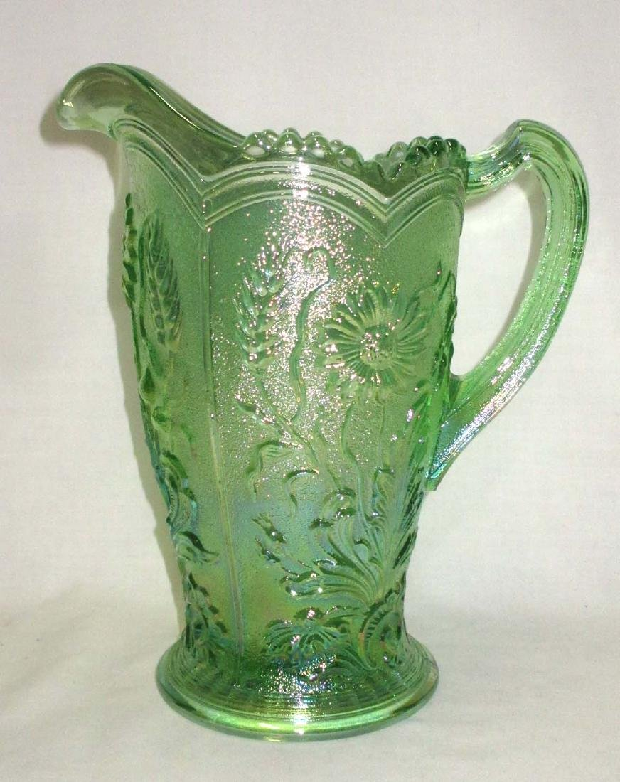 Green Iridescent Water Pitcher