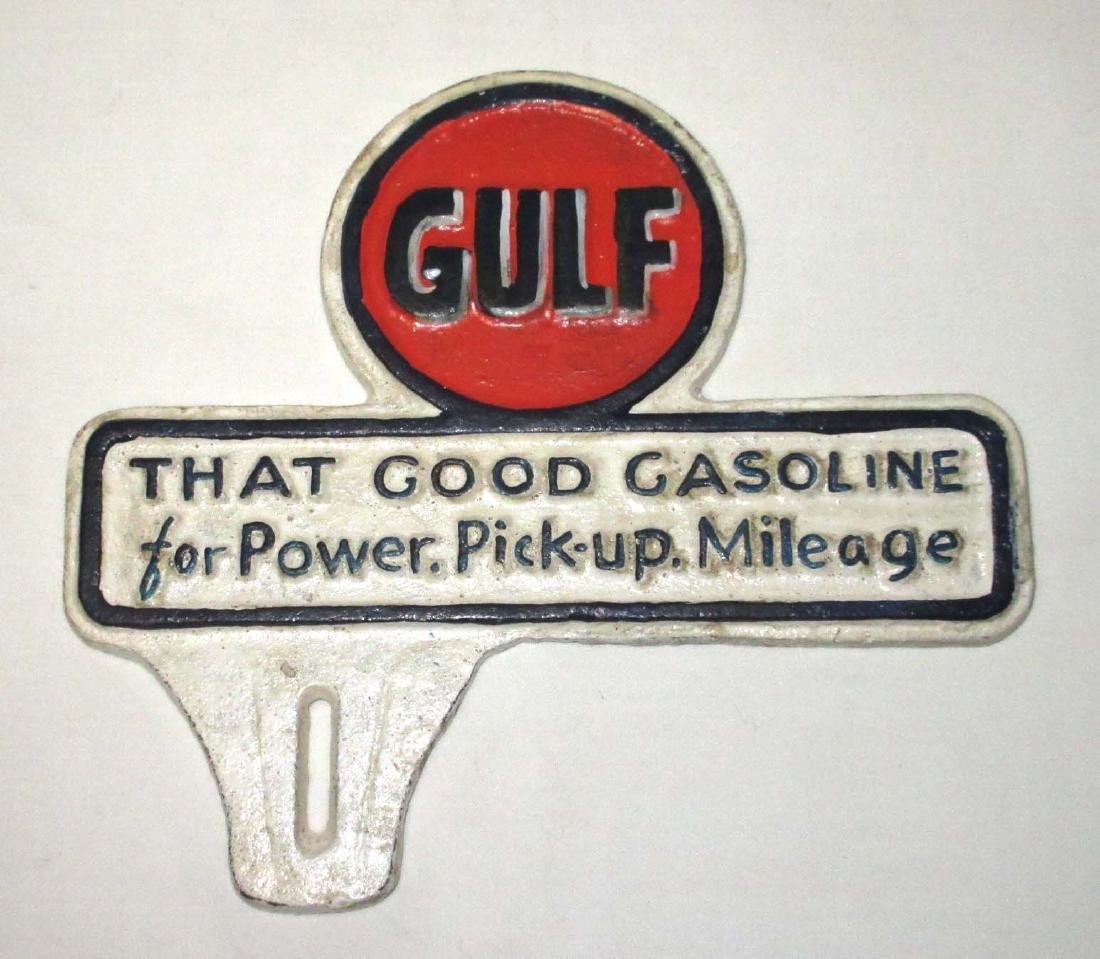 Modern Cast Iron Gulf Oil License Plate Topper
