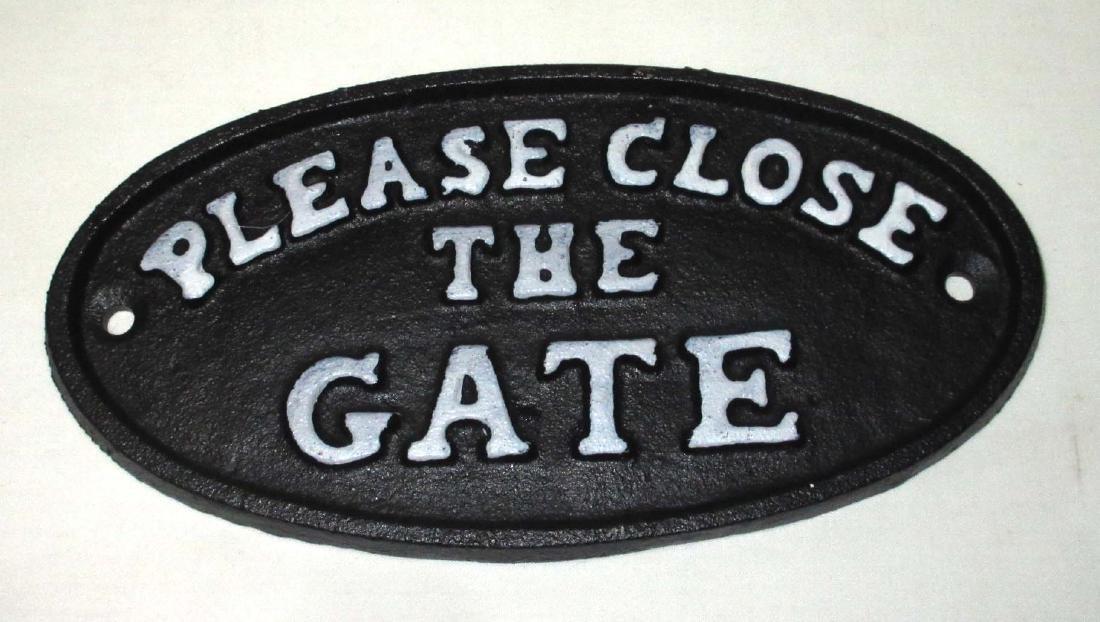 "Cast Iron ""Close the Gate"" Sign"