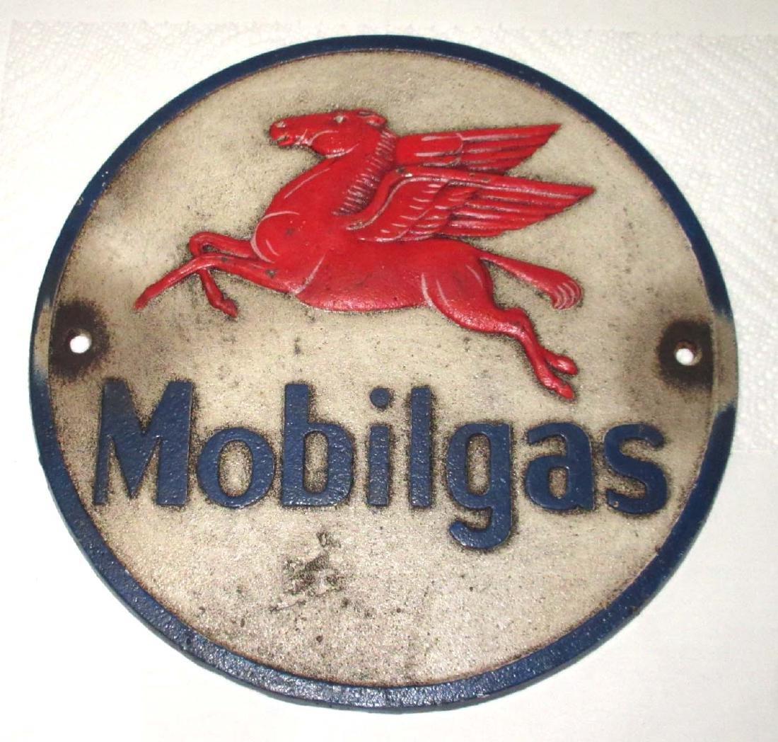 Modern Cast Iron Mobil gas Sign