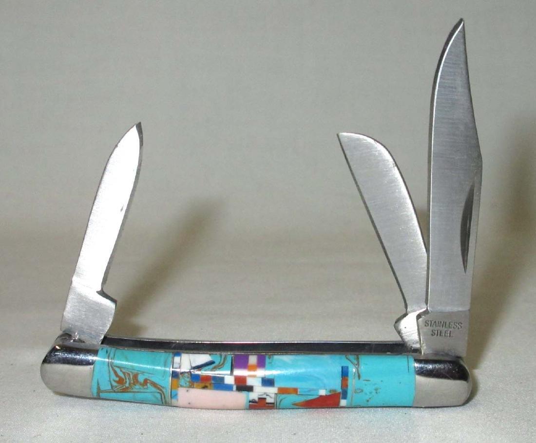 "2 3/4"" Inlaid Turquoise Handle Pocket Knife"