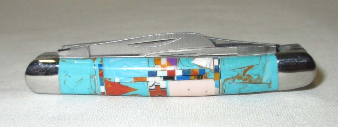 "2 3/4"" Inlaid Turquoise Handle Pocket Knife - 2"