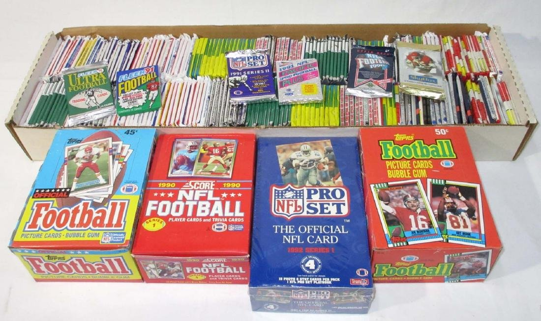 Large Lot 1980's - 90's NIB/Pack Football Cards