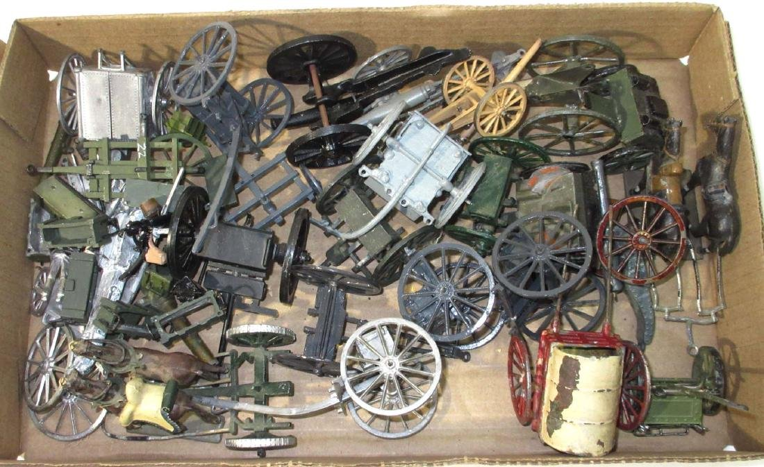 Large Lot of Lead Wagons, Carts, Etc.