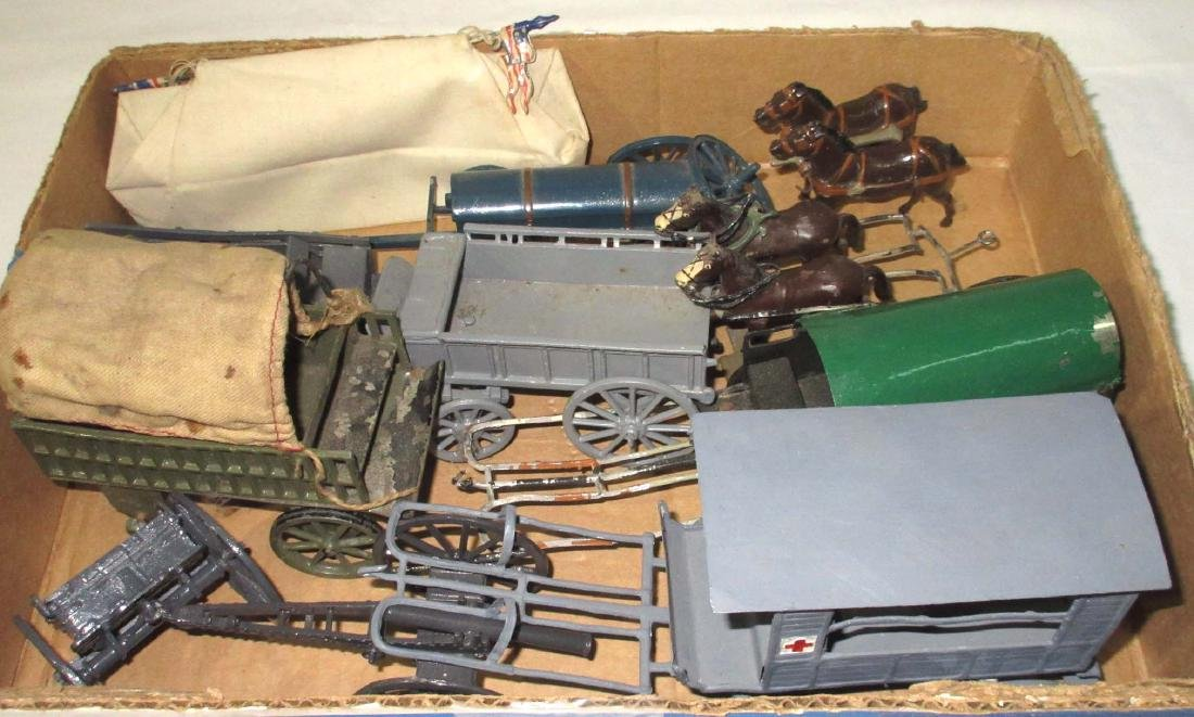 Lot of Lead Wagons, Horses, & Cannons