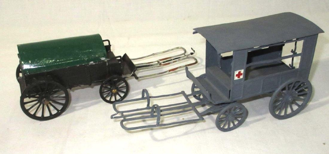 Lot of Lead Wagons, Horses, & Cannons - 2