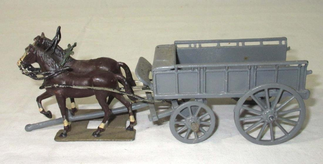 Lot of Lead Wagons, Horses, & Cannons - 3
