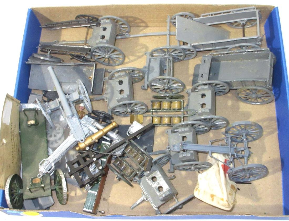 Lot of Lead Wagons, Carts, Ammo Carts, Cannons