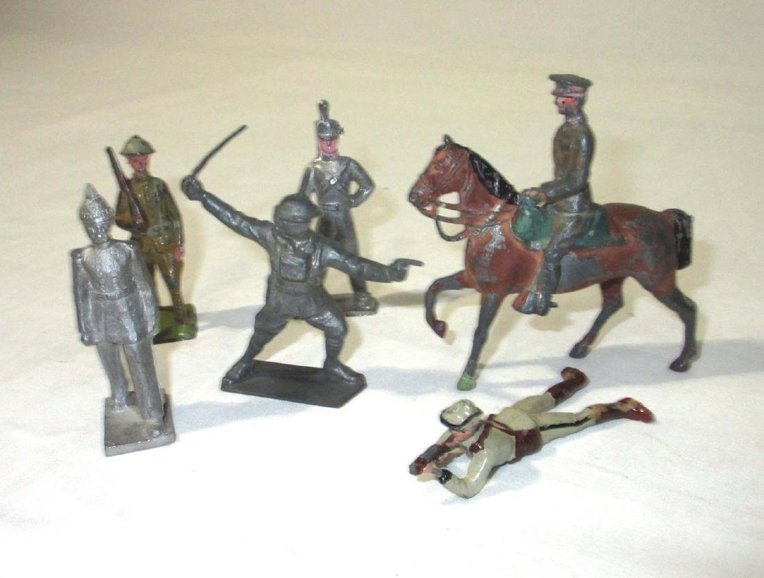 Lot of Lead Soldiers, Horses, Carts, & Cannons - 3