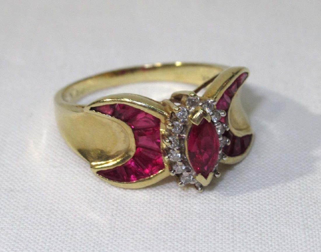 14K Gold Ruby & Diamond Ring - 2