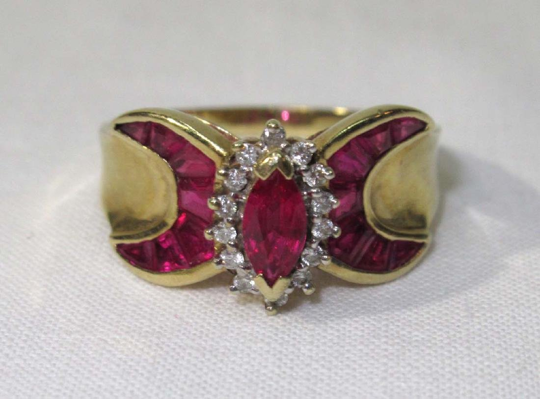 14K Gold Ruby & Diamond Ring - 3