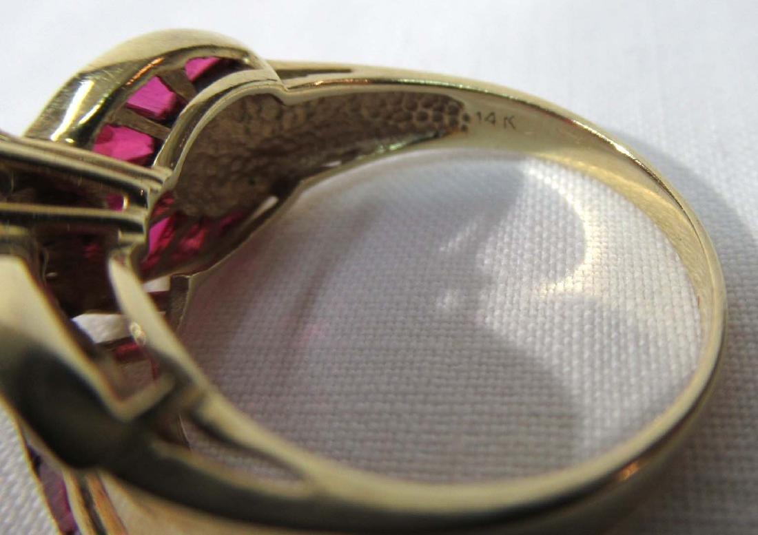 14K Gold Ruby & Diamond Ring - 4