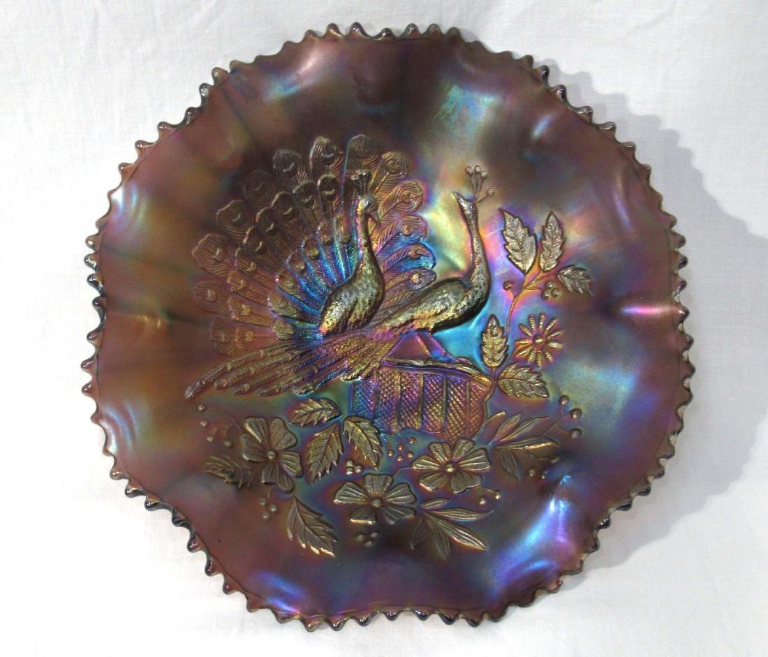Carnival Glass Bowl, Peacocks